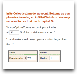 Specify the size of the trades you want to place
